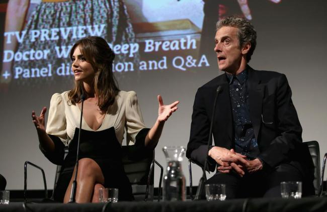 """Jenna Coleman i Peter Capaldi podczas Q&A w dniu światowej premiery ósmej serii """"Doktora Who"""""""