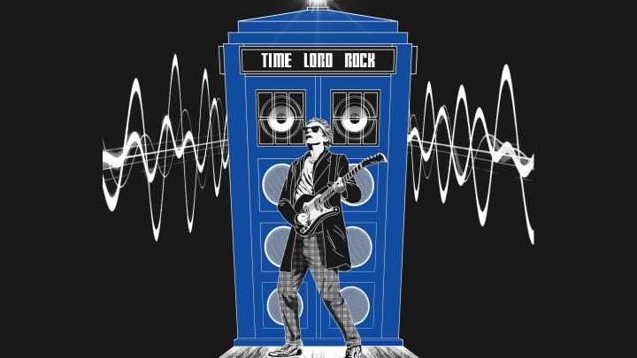 Dwunasty Doktor z gitarą w formie symbolu muzyki fanów serialu Doctor Who