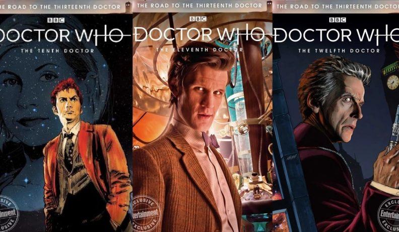 Na okładkach komiksów serii The Road to the Thirteenth Doctor zobaczymy Dziesiątego, Jedenastego i Dwunastego Doktora.