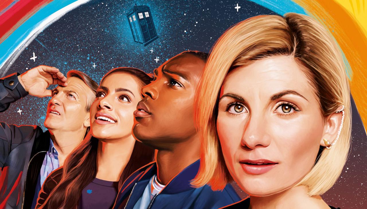 Plakat promujący 11 serię z Jodie, Tosinem, Mandip i Bradleyem
