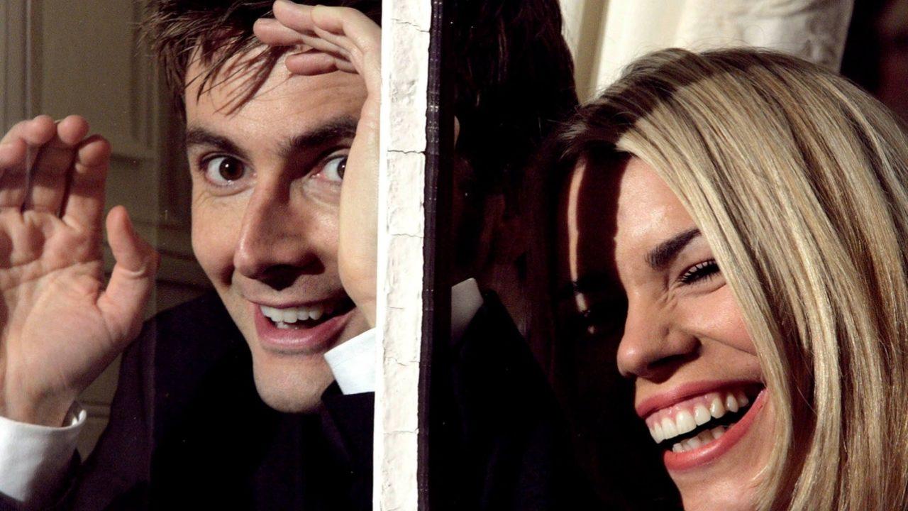 David Tennant i Billie Piper na planie Doctor Who.