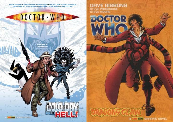 """Okładki komiksów """"Cold Day in Hell"""" i """"Dragon's Claw"""". Zdjęcie jest podzielone na dwie równe części. Pierwsza z nich przedstawia okładkę komiksu, na której znajduje się Siódmy Doktor, pingwin i bliże niezidentyfikowana kosmitka. W tle widać głowę Lodowego Wojownika oraz zaspy śnieżne. Na drugiej widzimy zaś Czwartego Doktora na pomarańczowym tle."""