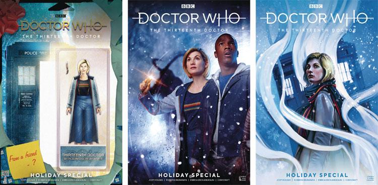 """Okładki """"odcinka świątecznego"""" komiksowej serii Jody Houser o Trzynastej Doktor."""