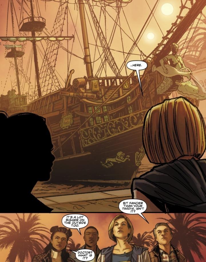 Fragment komiksu. Trzynasta Doktor pokazuje towarzyszom statek Korsarz.