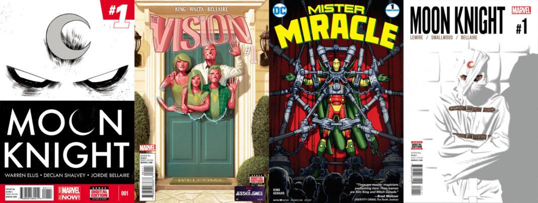 Zdjęcie przedstawia okładki pierwszych numerów wyżej wymienionych serii komiksowych.