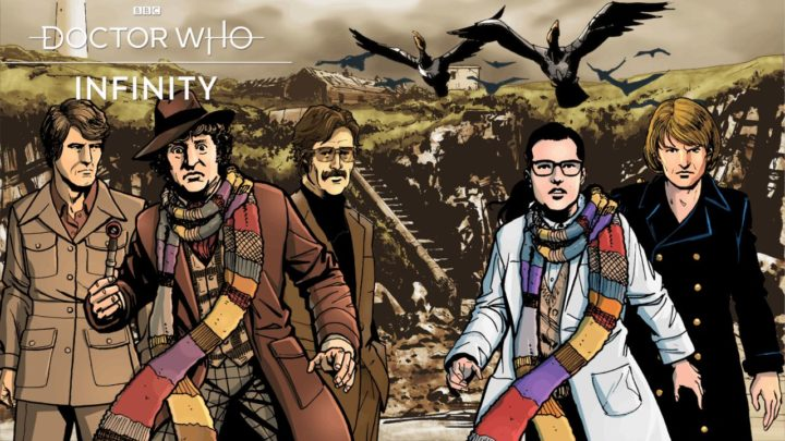 "Grafika historii ""The Horror of Flat Holm"" z gry ""Doctor Who Infinity""."