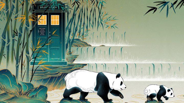 TARDIS, bambus i pandy. Jedna z grafik promujących Doctor Who w Chinach.