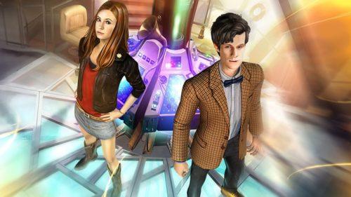 obrazek z gry doctor who the adventure games przedstawiający Doktora i Amy w TARDIS