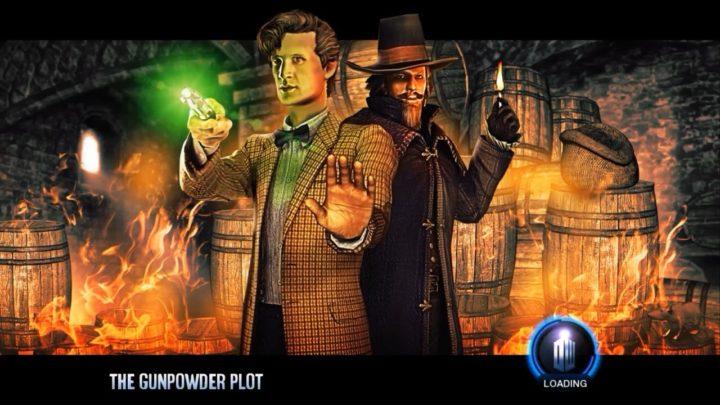 obrazek z gry doctor who the adventure games przedstawiający Doktora i Guya Fawkesa